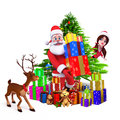 Santa claus carrying heavy gifts Stock Photos