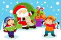 Santa claus carrying present bags and holding a name list with k vector illustration of kids around him Stock Images