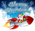 Santa Claus in Rocket Merry Christmas Cartoon Royalty Free Stock Photo