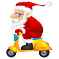 Santa claus cartoon character isolated on grey gradient background scooter vector eps Royalty Free Stock Images