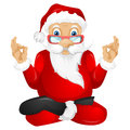 Santa claus cartoon character isolated on grey gradient background yoga vector eps Stock Photos