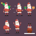 Santa claus cartoon characters set poses emotions christmas new year icons on stylish background flat design vector illustration Royalty Free Stock Photos