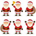Santa claus cartoon christmas set collection of six characters in different positions and expressions isolated on white background Royalty Free Stock Images