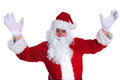 Santa claus celebrating success with hands in the air on white background Royalty Free Stock Image