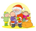 Santa claus with children hand drawn picture of giving presents to illustrated in a loose style vector eps available Stock Image