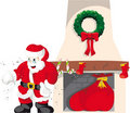 Santa Claus in chimney 4 Royalty Free Stock Image