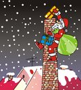 Santa claus chimney climbing the and throwing gifts Royalty Free Stock Photos