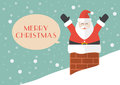 Santa claus in chimney with snow background Royalty Free Stock Photo