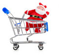 Santa Claus in chopping cart Stock Image