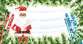 Santa Claus. Christmas background with fir branches, snow and sk Royalty Free Stock Photo