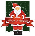 Santa Claus with christmas banner Stock Photo