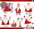 Santa claus and christmas cartoon set Royalty Free Stock Photo