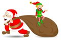 Santa claus with christmas elf vector illustration of on white background Stock Photography