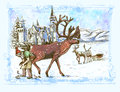 Santa claus before christmas full sized original hand drawing theme prepares a reindeer driving replaced horseshoe Royalty Free Stock Image