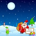 Santa claus with christmas gift easy to edit vector illustration of Royalty Free Stock Photo