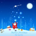 Santa claus with christmas gift easy to edit vector illustration of Stock Photography