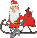 Santa claus and christmas gifts cartoon with sledge Royalty Free Stock Photography