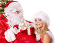Santa claus and christmas girl. Stock Image