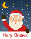 Santa claus christmas greeting card merry with a cartoon smiling and with snow and stars in the blue sky eps file available Royalty Free Stock Photo