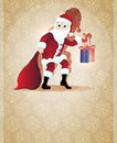 Santa Claus with Christmas present Stock Images