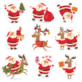 Santa claus and christmas reindeer funny cartoon character vector illustration isolated on white background set Stock Image