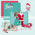 Santa claus christmas set scrapbook design elements in Stock Image