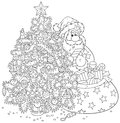 Santa claus and christmas tree with a bagful of gifts near a decorated black white outline illustration on a white background for Royalty Free Stock Images