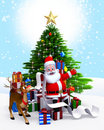 Santa Claus & Christmas tree with gift list Stock Image