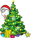 Santa claus and christmas tree hidden behind a shining Royalty Free Stock Photo