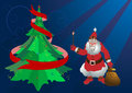 Santa Claus on the Christmas tree lights the stars Royalty Free Stock Images