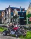 Santa Claus is comin to town old town Zaandam with gifts. Happy winter vacation in Holland Royalty Free Stock Photo