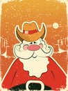 Santa Claus with cowboy hat .Retro card Royalty Free Stock Photos