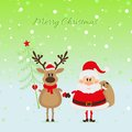 Santa claus and a deer with christmas tree bear the card Royalty Free Stock Photo