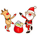 Santa Claus and deer mascot the event activity. Christmas Charac Stock Images