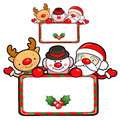 Santa Claus and deer mascot the event activity. Christmas Charac Royalty Free Stock Photos
