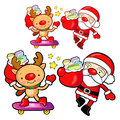 Santa Claus and deer mascot the event activity. Christmas Charac Royalty Free Stock Photo