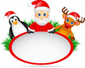 Santa claus deer and penguin with blank sign illustration of Royalty Free Stock Image