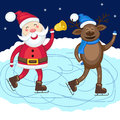 Santa Claus with deer skate at the rink Royalty Free Stock Photo