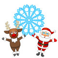 Santa claus and deer with snowflake cartoon reindeer holding big blue Royalty Free Stock Images