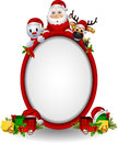 Santa claus ,deer and snowman with blank sign Royalty Free Stock Photography