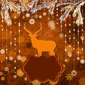 Santa Claus Deer vintage Christmas card. EPS 8 Royalty Free Stock Image
