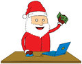 Santa Claus doing online shop Stock Images