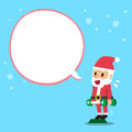 Santa claus doing standing dumbbell calf raise exercise with white speech bubble Royalty Free Stock Photo