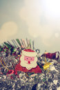 Santa Claus doll with abstract background, Merry Christmas, vintage color