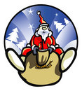 Santa Claus drives Christmas gifts. Royalty Free Stock Photos