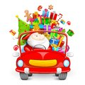 Santa Claus driving car with Christmas gifts