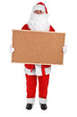 Santa claus and empty bulletin board on white background Royalty Free Stock Photos