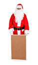 Santa claus and empty bulletin board on white background Stock Photos