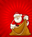 Santa Claus with empty sack for christmas gifts Royalty Free Stock Images