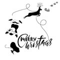 Santa Claus fall from sleigh with harness on the reindeer. Black and white vector illustration. Christmas lettering. Royalty Free Stock Photo